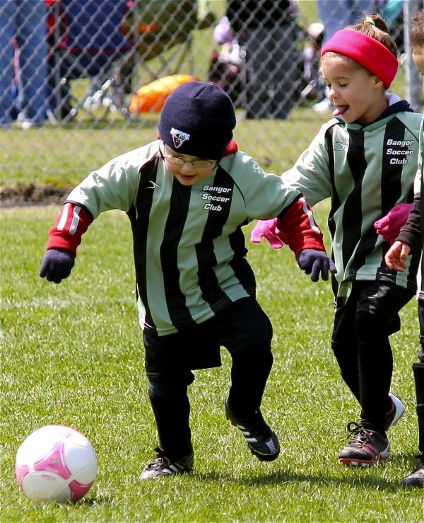 Bangor Soccer Club players Alivia Mitchell and Trey Tennett.
