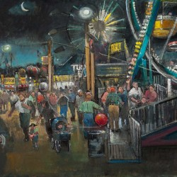 Nancy Morgan-Barnes, Blue Hill Fair Evening, oil on board