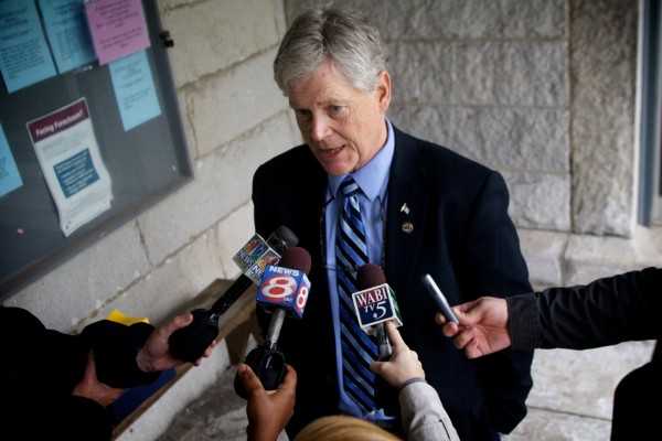 Acting Kennebec County District Attorney Alan Kelley speaks to reporters outside superior court in Augusta on Thursday, May 10, 2012 after Raymond Bellavance Jr. was sentenced to 30 years in prison for a 2009 arson.