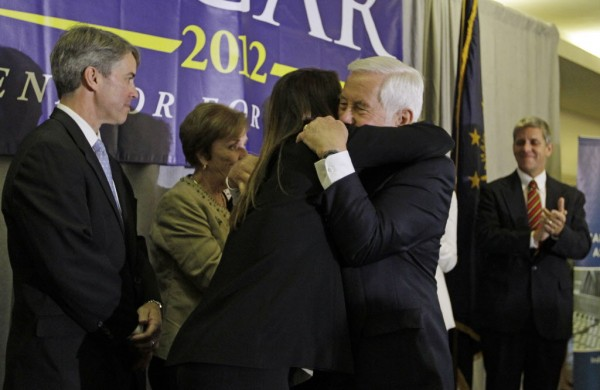 Sen. Richard Lugar hugs Kelly Lugar following a concession speech Tuesday, May 8, 2012, in Indianapolis.