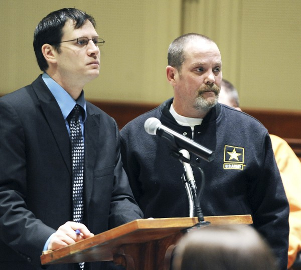 David M. Stain (right) and his lawyer, Richard Charest, appear in Androscoggin County Superior Court in Auburn on Feb. 2, 2012, for Stain's arraignment on welfare theft.