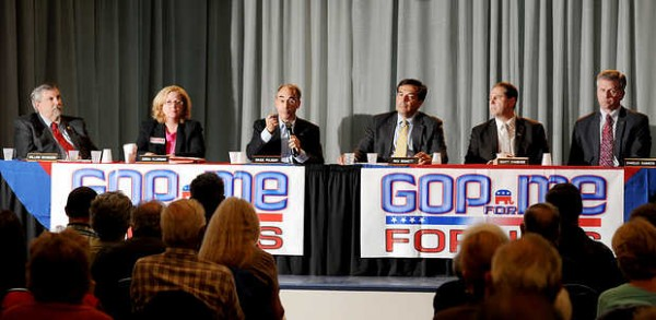 Six candidates participate in the Republican U.S. Senate candidate forum at the Franco-American Heritage Center in Lewiston on Wednesday. From left are Attorney General William Schneider, state Sen. Debra Plowman, State Treasurer Bruce Poliquin, Rick Bennett of Oxford, Scott D'Amboise of Lisbon and Secretary of State Charles Summers.