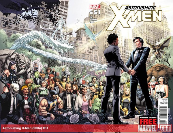"This week, Marvel Comics announced the proposal and same-sex nuptials of Northstar, its first gay superhero, in ""Astonishing X-Men"" No. 50 (published this week) and No. 51 (it's a June wedding)."