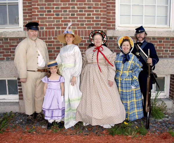Among the models participating in the May 12 Civil War Fashion Show held in the Prescott Building at Good Will Hinckley School in Fairfield were Steve Henry (from left) of Winthrop, Avie Claude of St. Albans, Heidi Hartsgrove of St. Albans, K Hartsgrove of Newport, Jillian Hartsgrove of Newport and Neal Donovan IV of Brunswick.