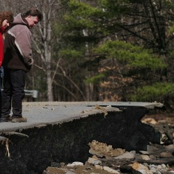 Receding beaver dam flood waters leave extensive road damage in Orrington