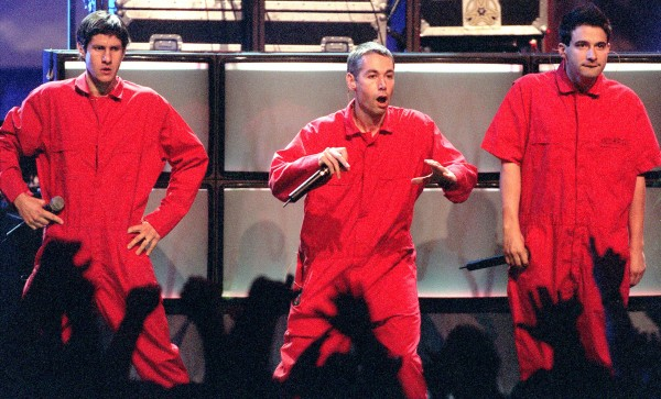In this September 10, 1998 file photograph, the Beastie Boys perform at the MTV Video Music Awards. Adam Yauch, center, has died, Friday, May 4, 2012, according to Rolling Stone magazine. He was 47.