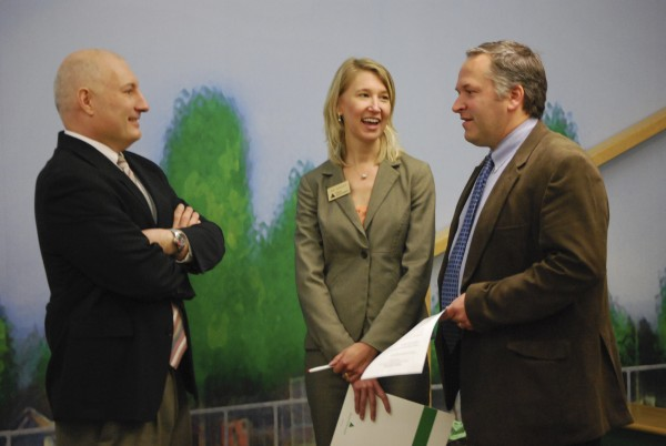 From left: Ed Troscianiec, curriculum chair, Bangor Region Leadership Institute; Jill Jamison, Area Board Operations Director, Junior Achievement of Maine; Niles Parker, executive director of the Maine Discovery Museum.