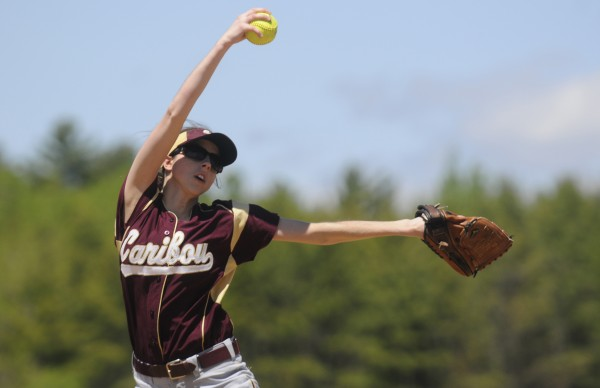 Caribou High School's Emily Staples winds up her pitch to a Hermon High School opponent in game action at UMaine's Kessock Field Saturday afternoon, May 12, 2012.
