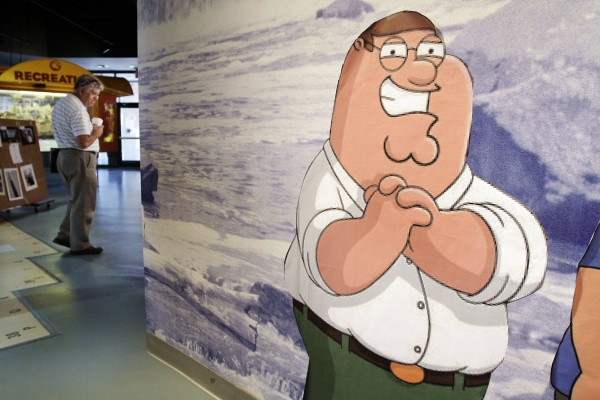 A likeness of cartoon character Peter Griffin, from the Fox animated program &quotFamily Guy,&quot stands in the Rhode Island Visitor's Center, in Pawtucket, R.I., in 2010.