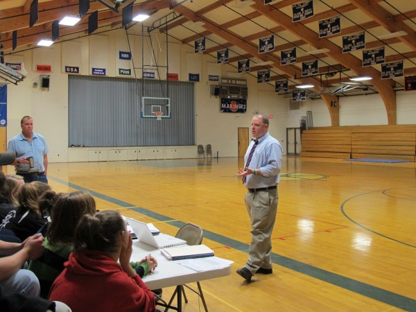 Principal Todd West of Deer Isle-Stonington High School speaks to a group of seniors on a recent afternoon.