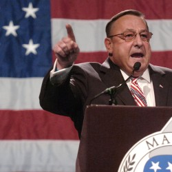 Maine Gov. Paul LePage delivers his speech at the Maine GOP Convention  Sunday at the Augusta Civic Center.