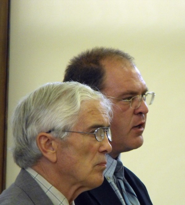 Attorney Torrey Sylvester (left) and his client, Kirk Gould, 42, listen as Gould is sentenced on two counts of gross sexual assault in Aroostook County Superior Court in Houlton in August 2009.