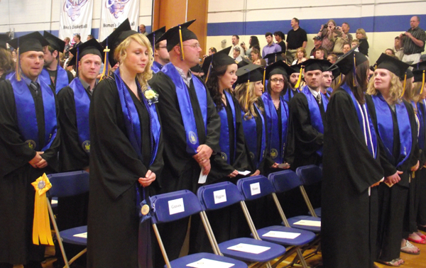 A portion of the 161 graduates at the University of Maine at Presque Isle line up in Wieden Auditorium on Saturday, May 12, 2012, to receive degrees during UMPI's 103rd Commencement ceremony. Laurie Lachance, president and CEO of the Maine Development Foundation, delivered the commencement address in Wieden Hall at UMPI.