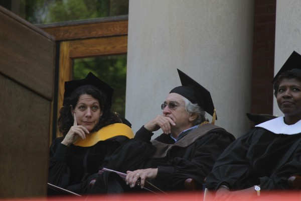 Bonnie Bassler (from left), Robert De Niro and Gwen Ifill wait to speak at Bates College in Lewiston, Maine, Sunday, May 27, 2012.