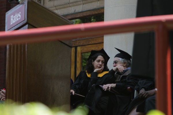 Bonnie Bassler chats with Robert De Niro before the Bates College commencement in Lewiston, Maine, Sunday, May 27, 2012.