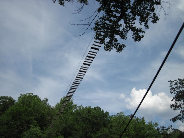 The 600-foot Sky Trek Bridge at Historic Banning Mills looks more intimidating from below than when a person is actually on it.