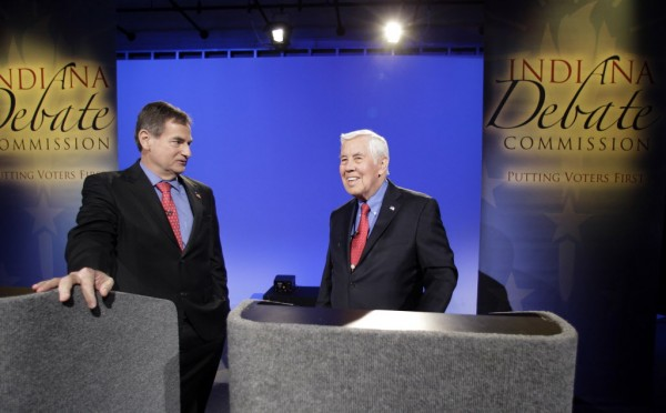 Senate candidates running in the GOP primary, Sen. Richard Lugar, R-Ind., and Richard Mourdock, left, participate in a debate, in Indianapolis last month.