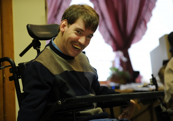Jake Van Meter smiles during an interview at Penobscot Nursing Home in December 2009. Van Meter and fellow nursing home resident Eric Reeves sued the state because their only living option was the nursing home. They both contended that living amidst people who are at the end stage of life is depressing for them.