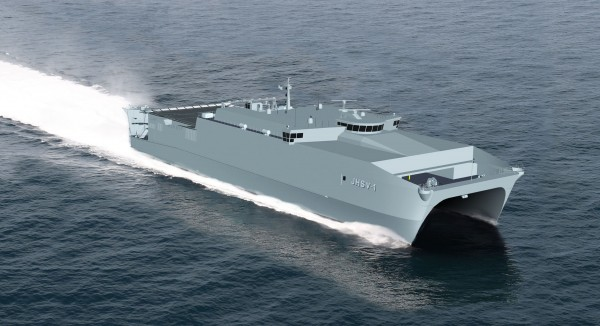 The Joint High Speed Vessel 1 called the USNS Spearhead will be succeeded by a third JHSV that will be named the USNS Millinocket in honor of the towns of East Millinocket and Millinocket. The ships are identical. The first in the series is seen here in a photo provided by its manufacturer, Austal-USA of Alabama, on May 30, 2012.