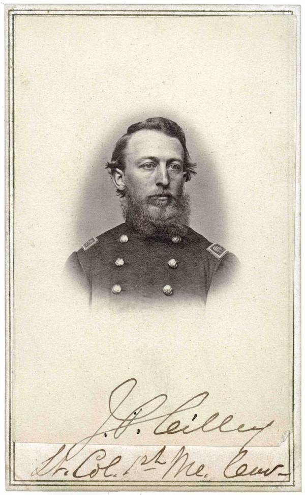 Born in Thomaston, Jonathan Prince Cilley raised a company of the 1st Maine Cavalry Regiment in autumn 1861. While fighting at Middletown, Va. in late May 1862, he was struck by a cannonball and left severely wounded on the battlefield. Cilley survived his wounds and later commanded the 1st Maine Cavalry.