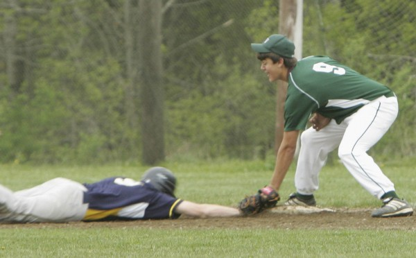 Mount View High School first baseman Kyle Turner makes the successful tag on Medomak Valley High School baserunner Ryan Ripley on the back end of a pick-off attempt during the third inning of a game on Wednesday, May 9, 2012.