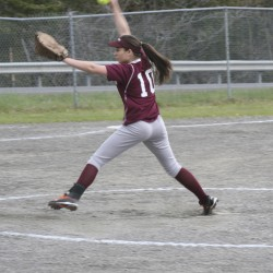 Senior Kaitlyn Beaudoin of East Grand High School of Danforth delivers a pitch during a recent high school softball game.