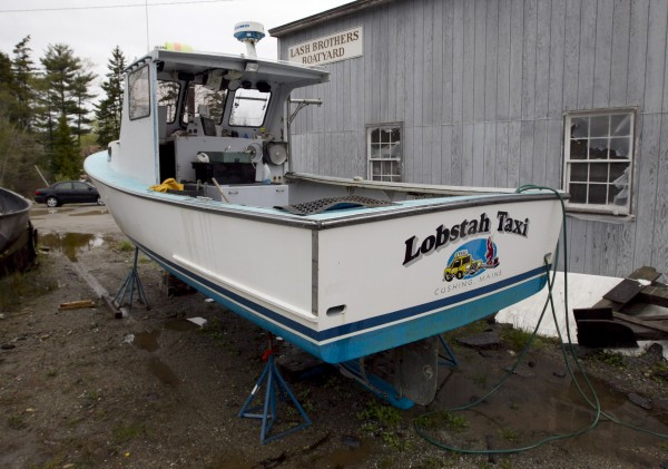 One of the two lobster boats recently sunk by vandals is seen in a boatyard in Friendship on Thursday, May 10, 2012. The sinkings are bringing back memories of territorial tensions in the industry that led to a shooting two summers ago.