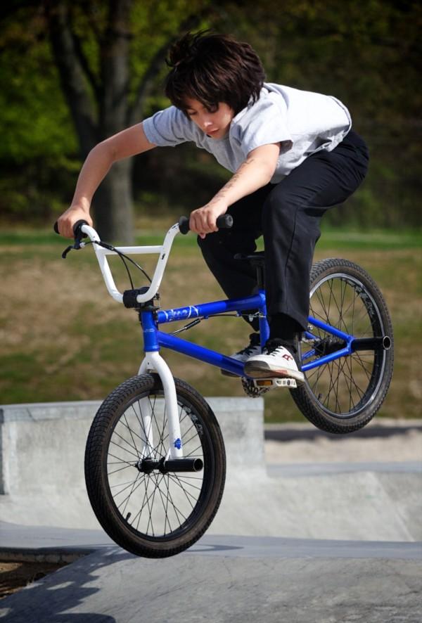 James Lennon gets ready to land his BMX at the Portland skate park Monday, April 30, 2012.