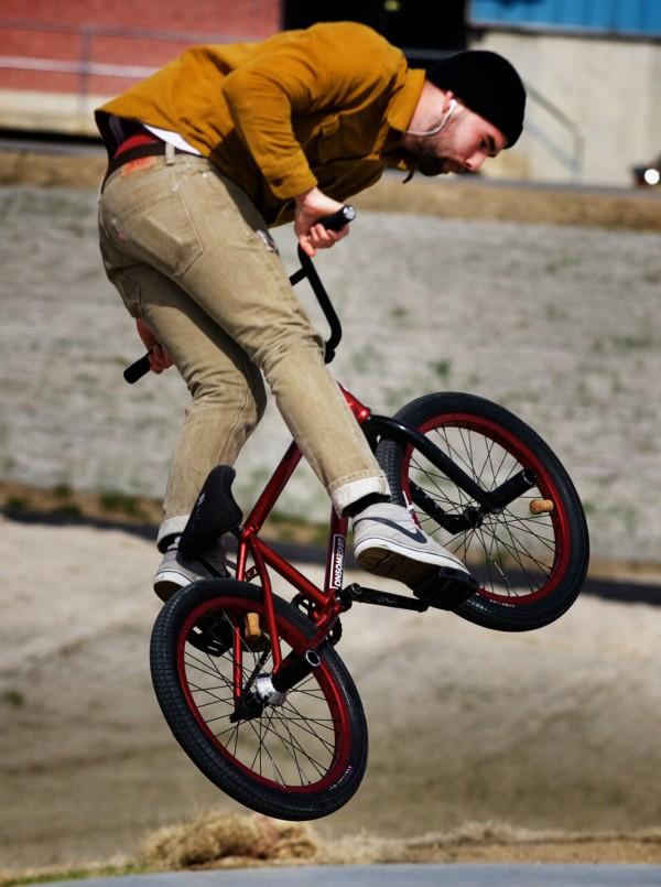 Justin Dickinson flies his BMX Monday, April 30, 2012, at the Portland skate park.