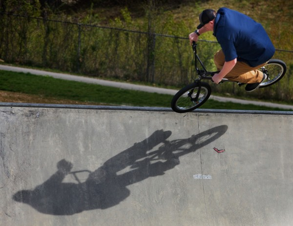Woodie Worthley gets some air on his BMX Monday, April 30, 2012, at the Portland skate park.