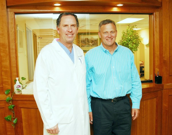 Gerald Rosenberg (left) and Craige Williamson in the lobby of Maine Coast Hand & Shoulder. The doctors are sub-specialists in a narrow field, but managed to connect in Ellsworth at Maine Coast Memorial Hospital, and have been serving Mainers from across Eastern and Northern Maine who might otherwise have gone to Portland or Boston for specialized hand and shoulder treatments.