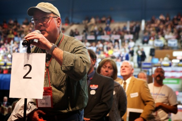 David Sawicki makes a motion on the floor designed to halt the national delegate nominating process at the Maine GOP Convention Saturday, May 5, 2012. The motion was ruled out of order.