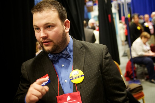 Waldo County Ron Paul supporter Matthew McDonald said he wanted delegate votes cast Saturday night, not Sunday morning at the Maine GOP convention in Augusta on Saturday, May 5, 2012.