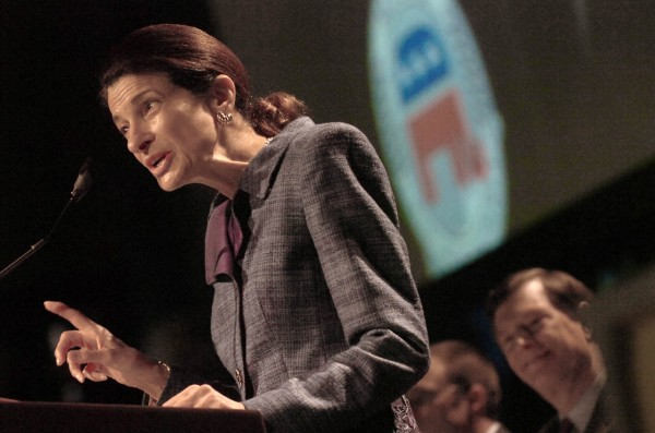 U.S. Sen. Olympia Snowe delivers her speech at the Maine GOP Convention  Sunday afternoon at the Augusta Civic Center.