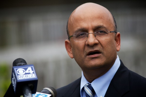 Nitin Nohria, dean of Harvard Business School, speaks about Nathan Bihlmaier, whose body was pulled from Portland Harbor, near Customs House Wharf, just before noon Tuesday, May 22, 2012.