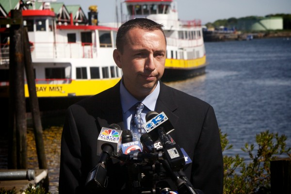At a press conference Monday afternoon on the waterfront, Portland Police Chief Michael Sauchuck asks for the public's help in finding Nathan Bihlmaier, 31, of Cambridge, Mass., who went missing Saturday night after leaving an Old Port bar.