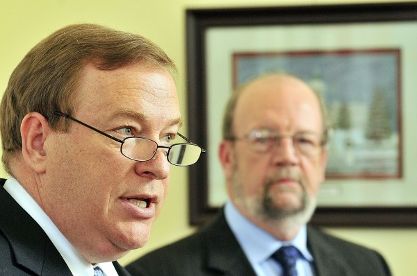 Senate President Kevin Raye (left), R-Perry, and Speaker of the House Robert Nutting, R-Oakland, hold a news conference on Thursday May 10, 2012 in the State House in Augusta, Maine to announce a plan to close an $83 million gap at the Department of Health and Human Services.