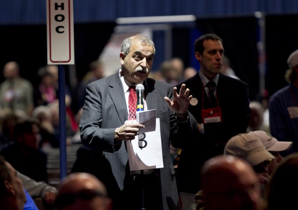 State party chairman Charlie Webster addresses the Republican Convention to urge leaders to try to wrap up business on time rather than incur additional costs for renting the Augusta Civic Center in Augusta on Sunday, May 6, 2012.