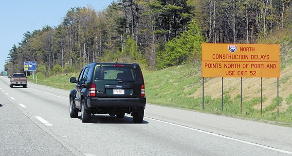 In May 2012, signs warn motorists northbound on southern portions of the Maine Turnpike to use Exit 52 to avoid traffic delays caused by repairs being done to 13 bridges and overpasses on Interstate-295 in South Portland and Portland.