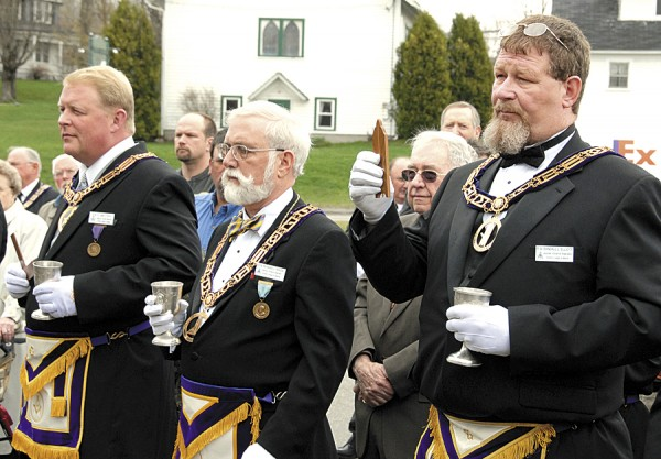 Among the Masons participating in the April 21 dedication of the Grand Lodge of Maine Business Office in East Holden were (from left) A. James Ross, deputy grand master; Richard Rhoda, senior grand warden; and Randall Elliott, junior grand warden.