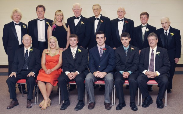 Maine Sports Hall of Fame inductees and award recipients were honored in a ceremony at the Bangor Civic Center on Sunday, May 20, 2012. In the front row are award recipients Wayne Lawton (from left), Carylanne Wolfington, Seth Sweet, Jordan Hersom, Patrick LaChance, Keith Mahaney. In the back row are Hall inductees  Dana Wilson (from left), Matt Hancock, Emily Ellis, Howard Vandersea, Ed Guiski, Walter Abbott, Dennis Libbey and Philip Coulombe.