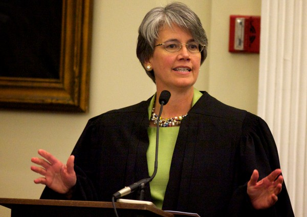 Newly sworn federal district judge Nancy Torresen speaks Thursday, May 3, 2012 in Portland during her investiture ceremony.