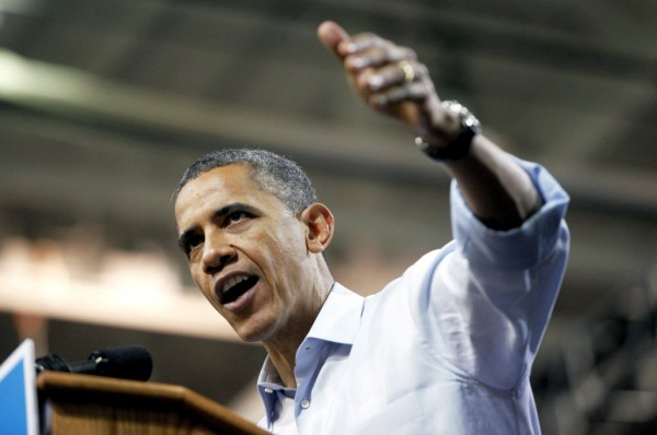 President Barack Obama speaks during a campaign rally at the Siegel Center in Richmond, Va., Saturday, May 5.