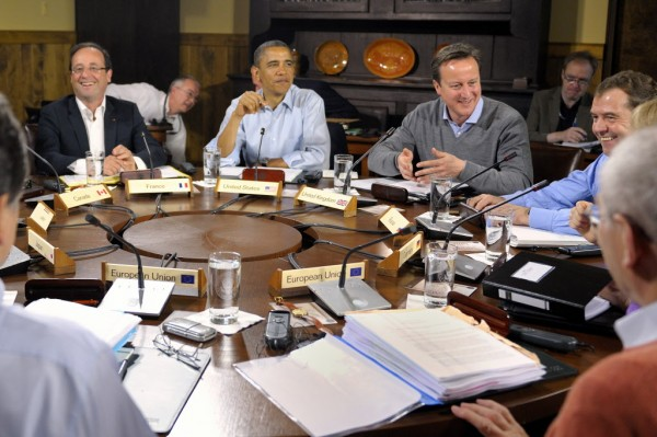 World leaders attend the first working session of the G-8 Summit at Camp David, Md, Saturday, May 19.  From left are French President Francois Hollande, U.S. President Barack Obama, British Prime Minister David Cameron and Russian Prime Minister Dmitri Medvedev.