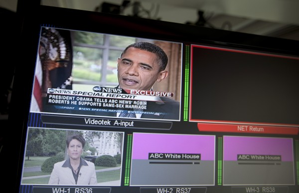 President Barack Obama is seen on television monitors in the White House briefing room in Washington on Wednesday, May 9, 2012. President Barack Obama told an ABC interviewer that he supports gay marriage.