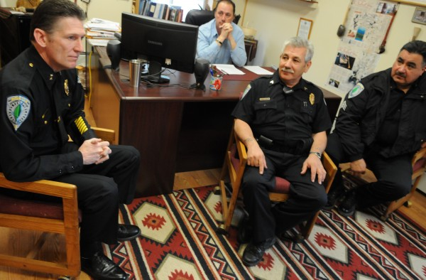 Penobscot Nation Police Chief Robert Bryant (left) has been recognized at the 2012 WeTip National Tribal Police Chief of the Year. Joining him for the BDN interview (from left) are Penobscot Nation Chief Kirk Francis, Penobscot Nation Cpl. Charles Loring Sr., and Sgt. Mike Socoby. Photographed in Penobscot Nation tribal offices on Wednesday, May, 2, 2012.