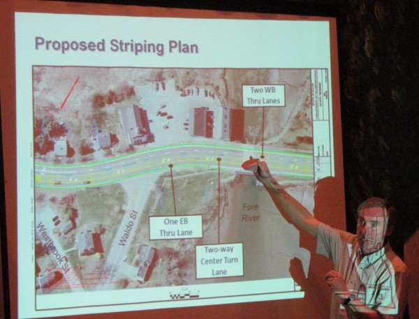 Portland City Councilor Ed Suslovic asks city and state traffic experts about their plans to stripe outer Congress Street differently after a summer paving job by the Maine Department of Transportation during a public forum Tuesday night, May 15, 2012, at the Italian Heritage Center