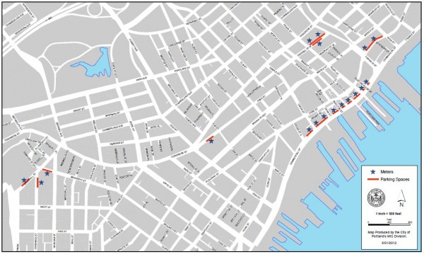 This map of Portland shows where 18 new solar-powered, credit card-accepting parking meters are being installed. The slate of parking meters is scheduled to go live on May 21.