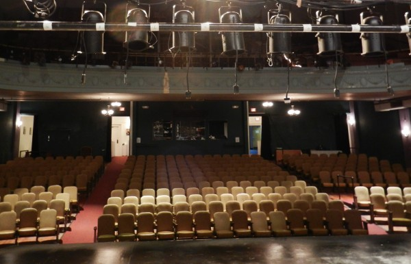 The Penobscot Theatre Company has a space crisis. The balcony (seen on top of photo in background) is being used for wardrobe storage instead of seating.