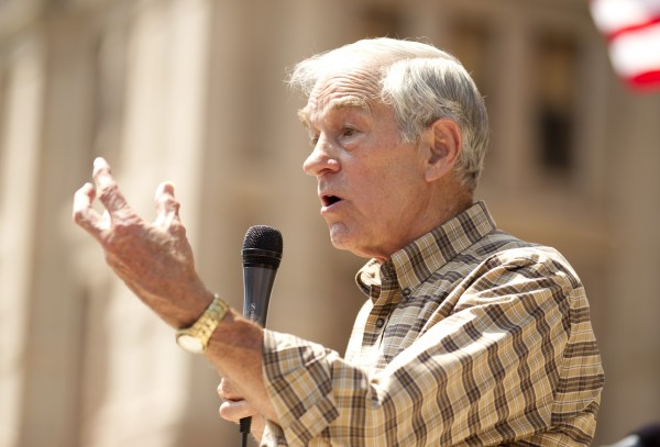 U.S. Rep. Ron Paul speaks at The Tea Party Express rally at the Capitol in Austin, Texas, on Sunday May 6, 2012.
